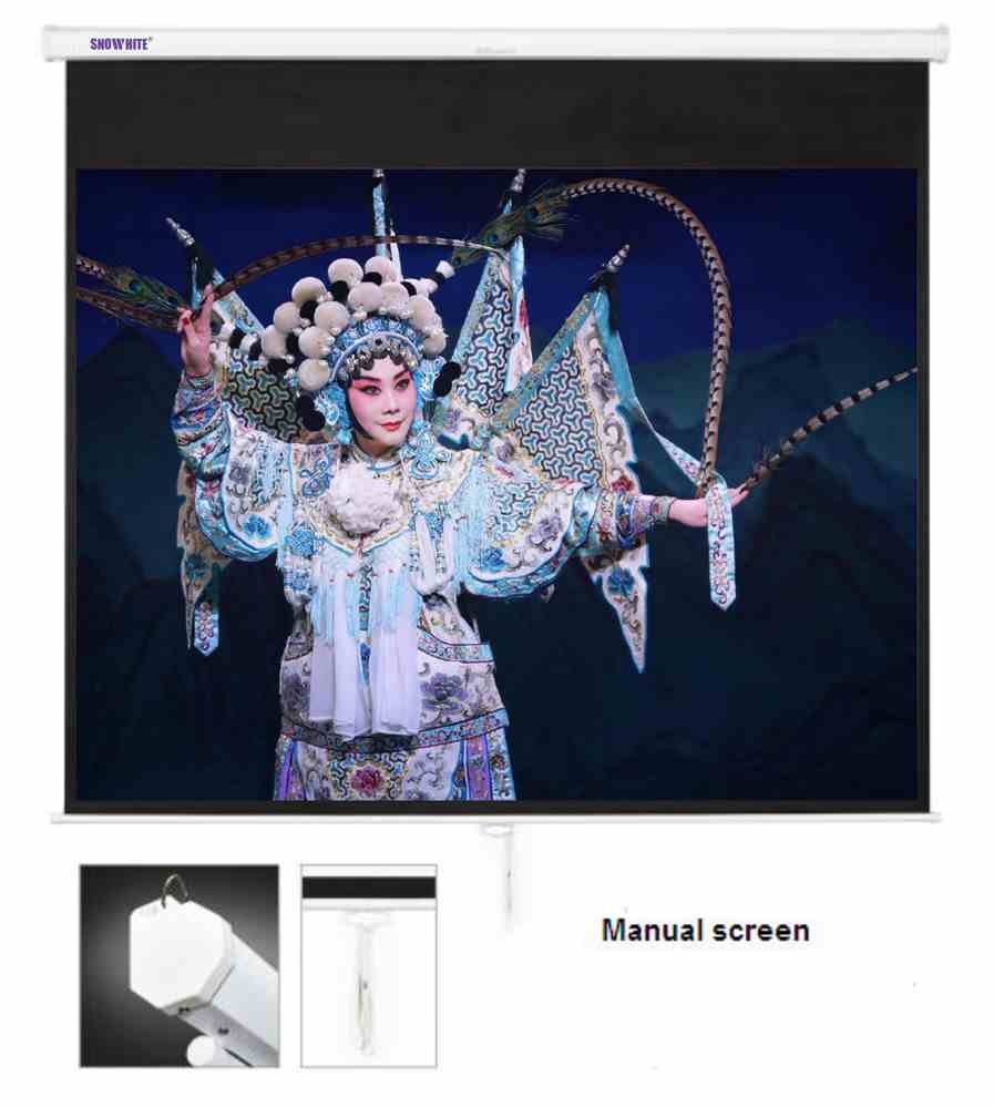 "SNOWHITE 84"" Manual Professional Plus pull down projection screen for home cinema business en"